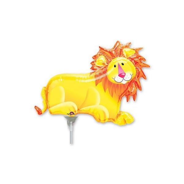 Lion avec coupelle et tige ballon mylar