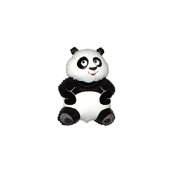 Panda avec coupelle et tige ballon mylar