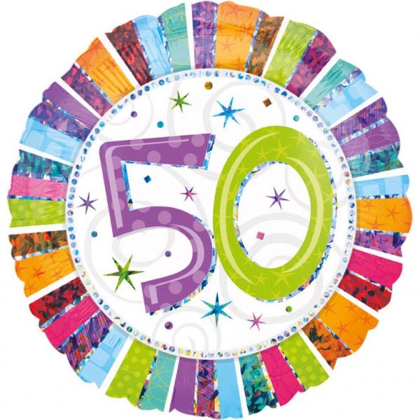 50 anniversaire radiant holographique ballon mylar 45cm