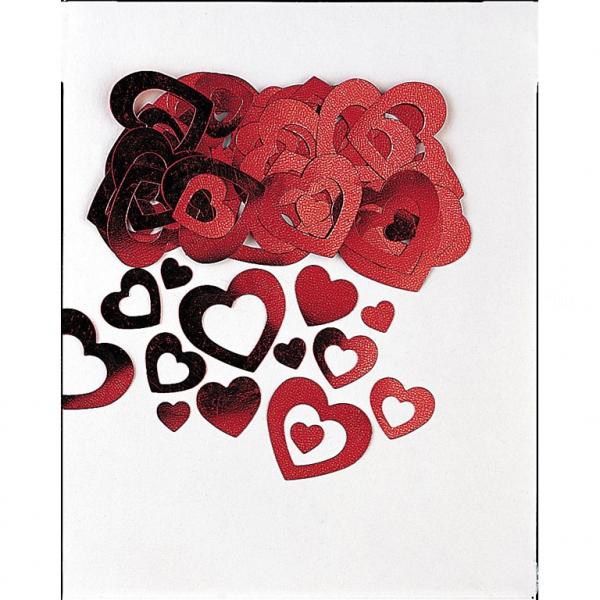confetti métallique coeurs rouge