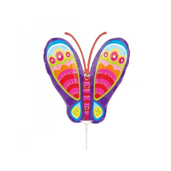 papillon coloré 34 cm non gonflé (air sur tige)