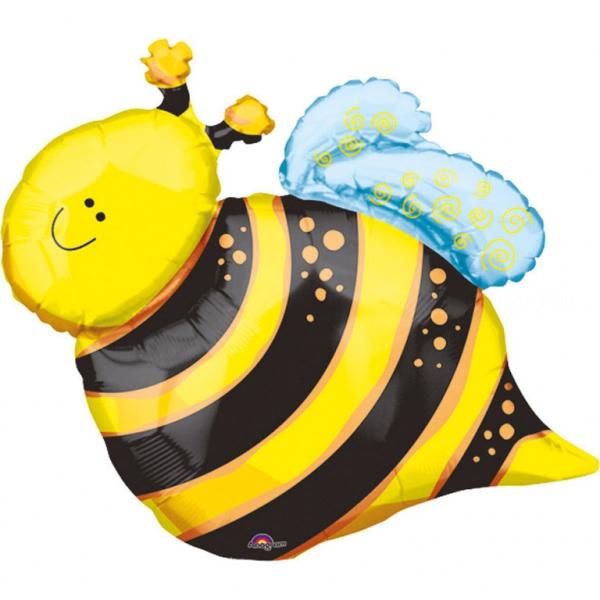 ballon mini abeille smile 40 cm non gonflé (air sur tige)
