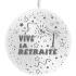 1 ballon blanc 86 cm vive la retraite imprimé tout autour