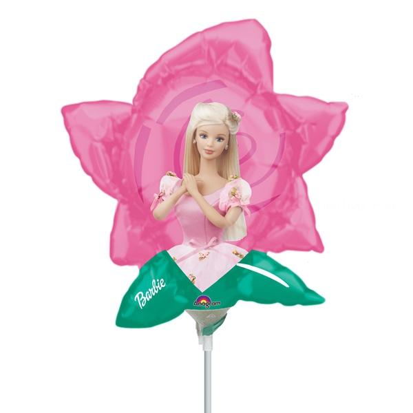 Barbie fleur ballons mini mylar air vendu non gonflé avec tige