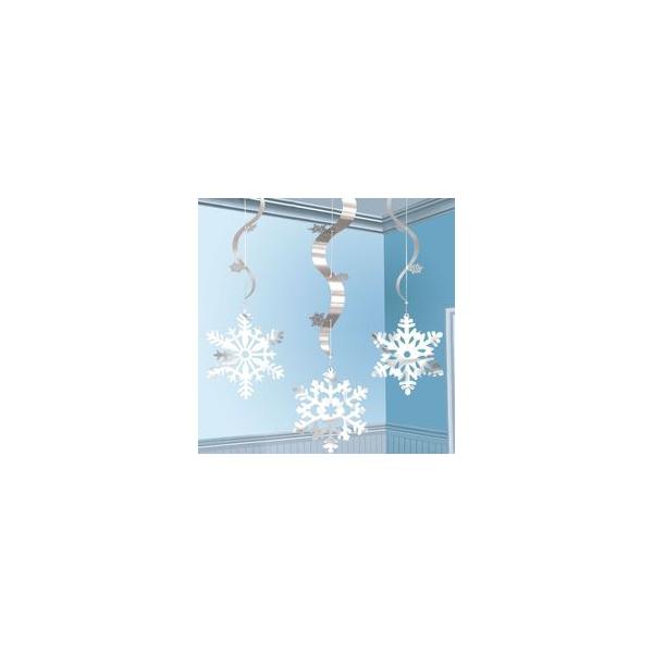 3 flocons argent suspensions verticales 91 cm