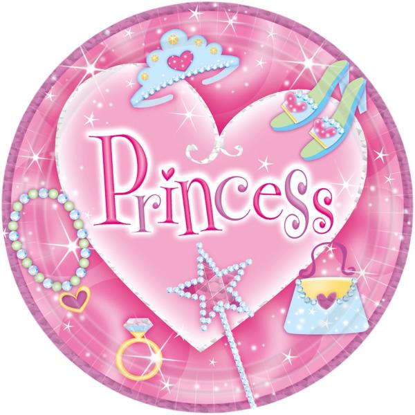8 assiettes princesses 22.9 cm carton