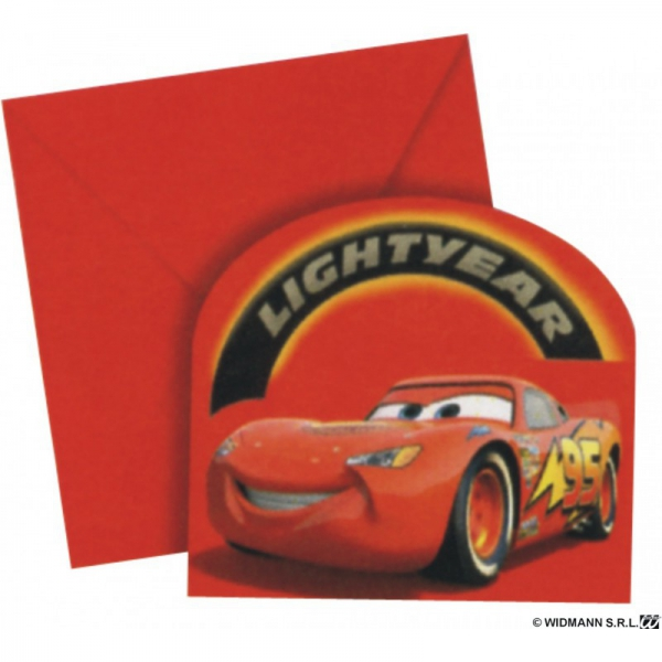 6 invitations + enveloppes Car's