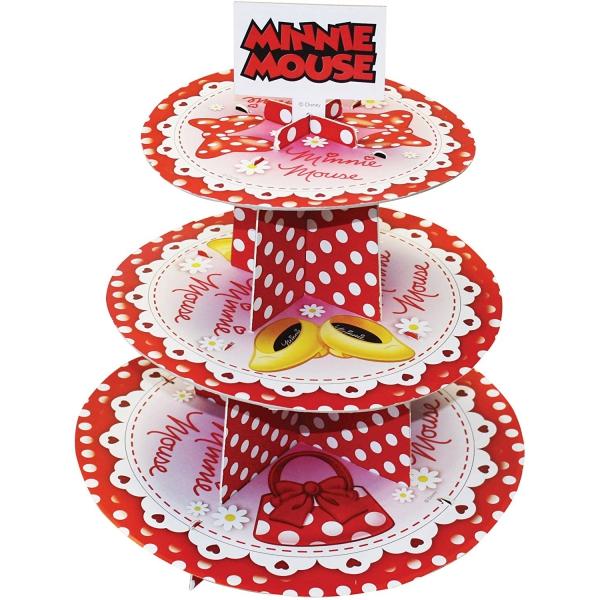 Présentoir à gâteaux 3 niveaux Minnie Mouse Rouge