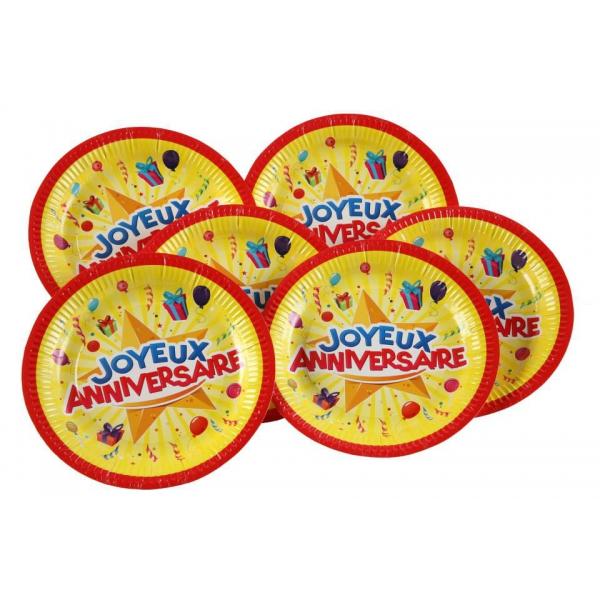 6 assiettes carton joyeux anniversaire 23 cm