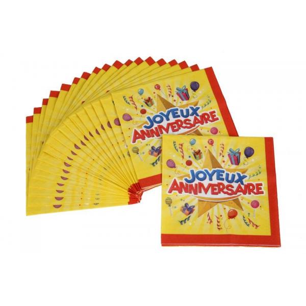 20 serviettes joyeux anniversaire 33*33cm