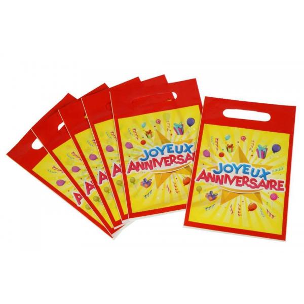 6 sacs à bonbons joyeux anniversaire