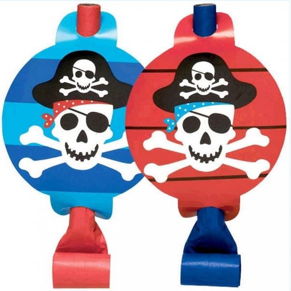 8 sifflets de fête pirate