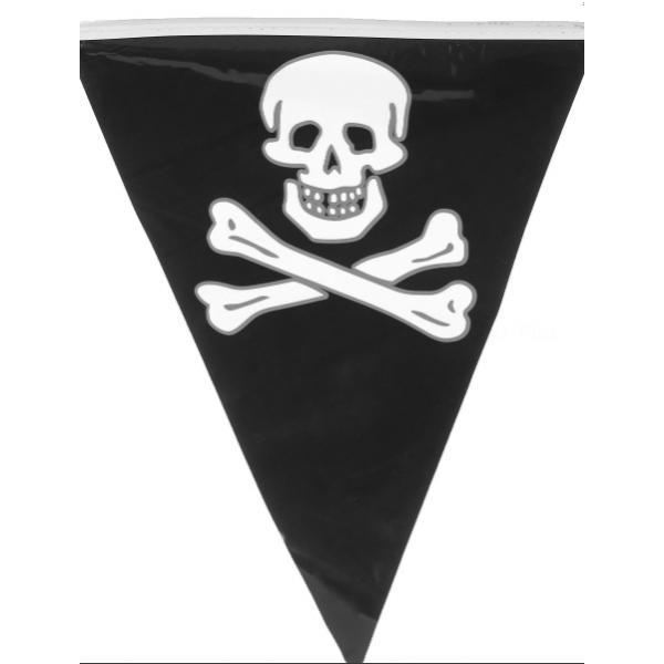 1 Guirlande fanions pirate tête de mort 6m 15 pavillons 30*20 cm