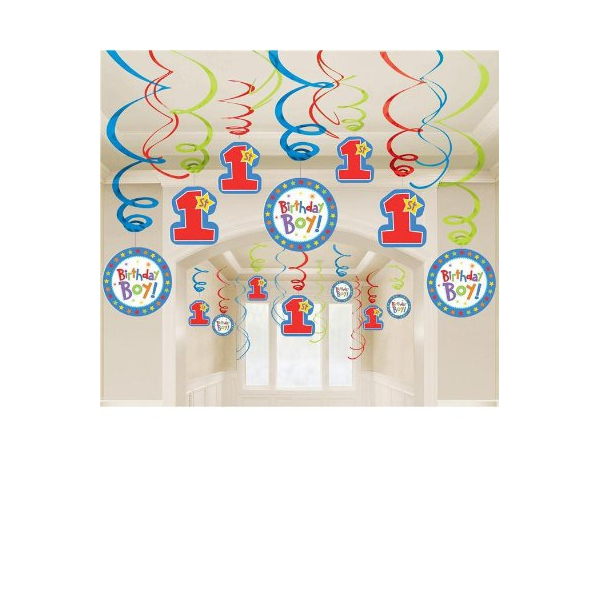 30 décorations tourbillonnantes 1er anniversaire garçon