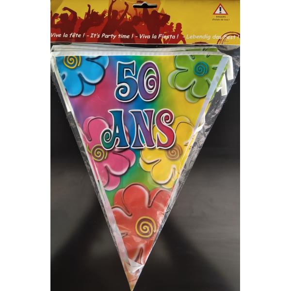 1 Guirlande fanions plastique 50 ans 6m