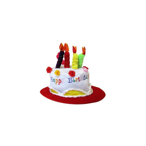 1 chapeau gâteau Happy Birthday bord rouge