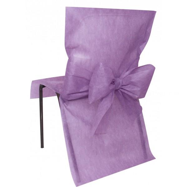 10 housses de chaise avec noeud lavande