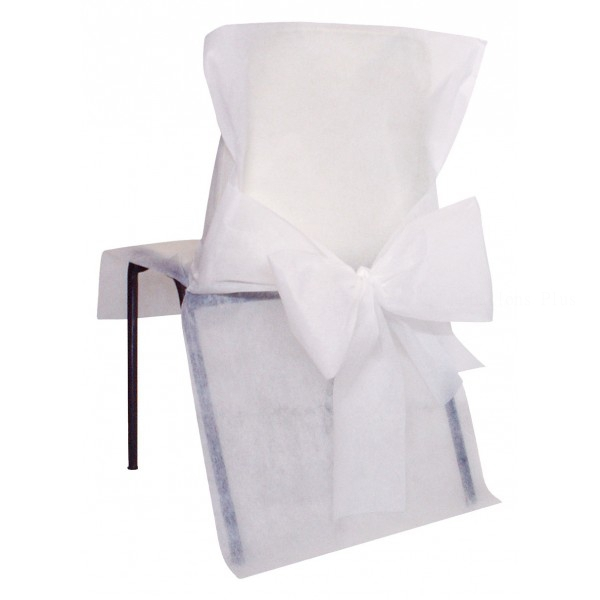 10 housses de chaise avec noeud blanc