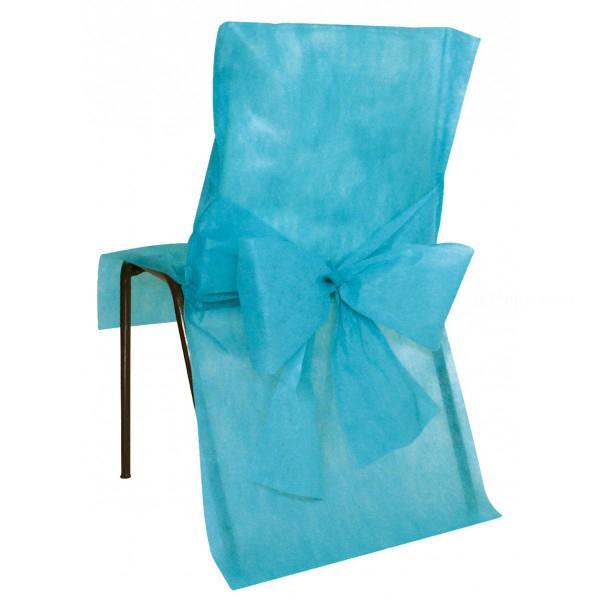 10 housses de chaise avec noeud turquoise
