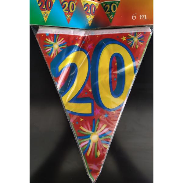 1 Guirlande fanions plastique 20 ans 6 m