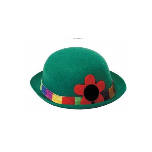 1 chapeau feutrine melon clown vert