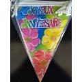 1 guirlande fanions joyeux anniversaire fleurs 6m