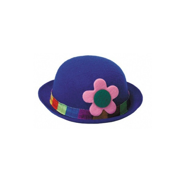 1 chapeau feutrine melon clown bleu