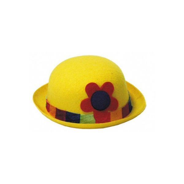 1 chapeau feutrine melon clown jaune