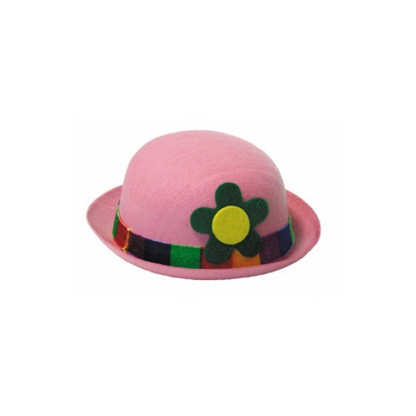 1 chapeau feutrine melon clown rose