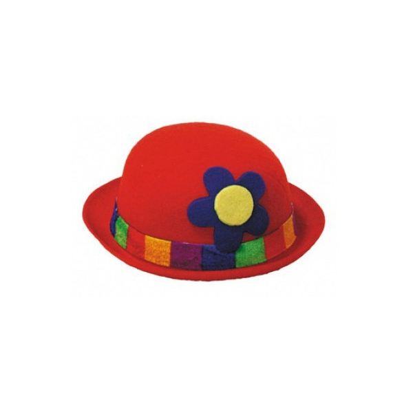 1 chapeau feutrine melon clown rouge