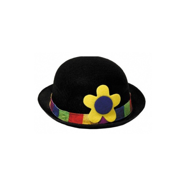 1 chapeau feutrine melon clown noir