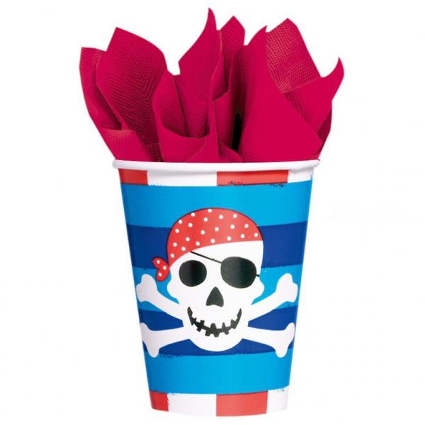 8 gobelets pirate bleu carton 266ml