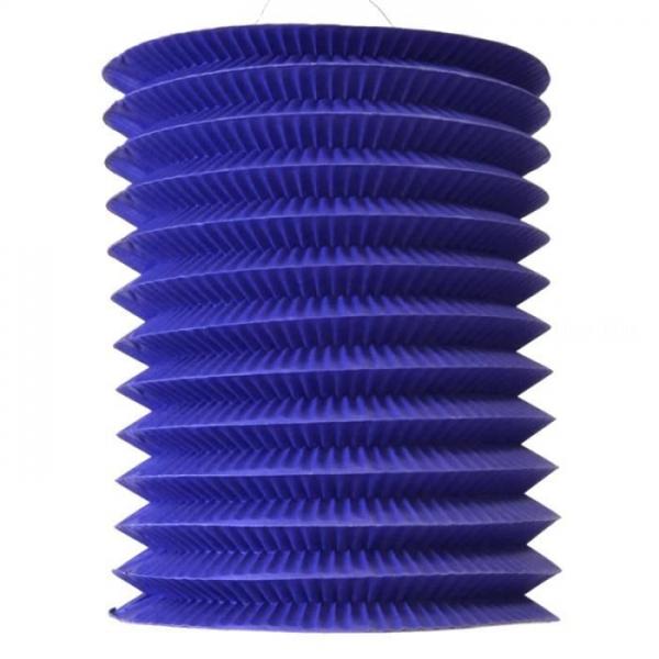 1 lampion cylindrique bleu 16 cm