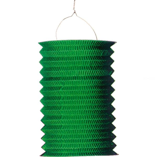 1 lampion cylindrique vert 16 cm