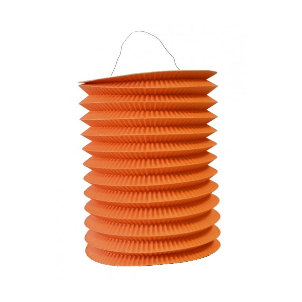 1 lampion cylindrique orange 16 cm