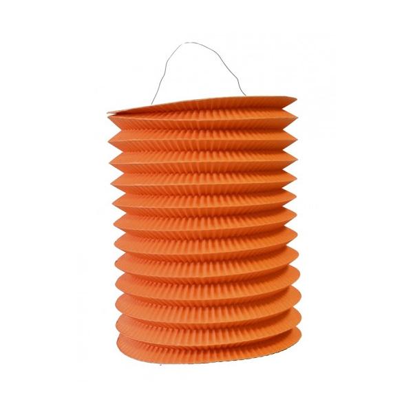 1 lampion cylindrique orange 16 cm