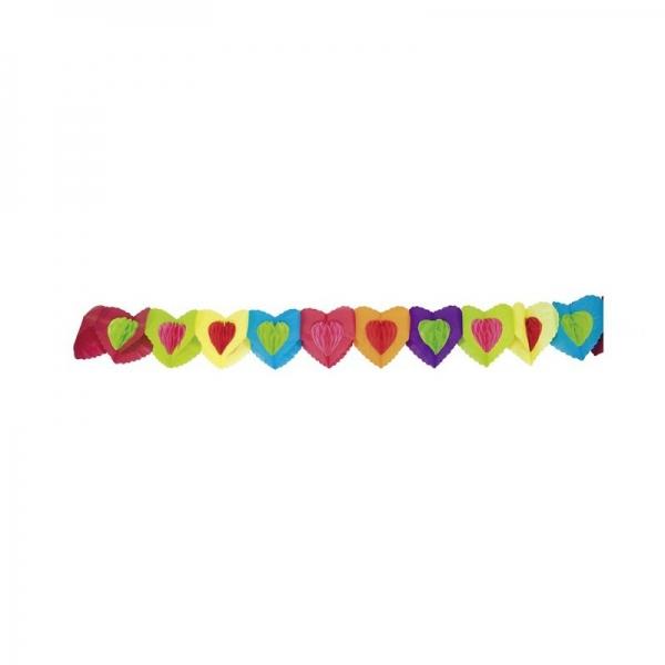 guirlande papier coeur multicouleur 4 m