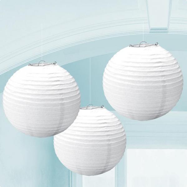 3 Lanternes lampions blanc 25.4 cm
