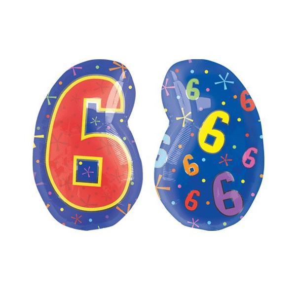 Chiffres 6 ballon mylar junior 45 cm