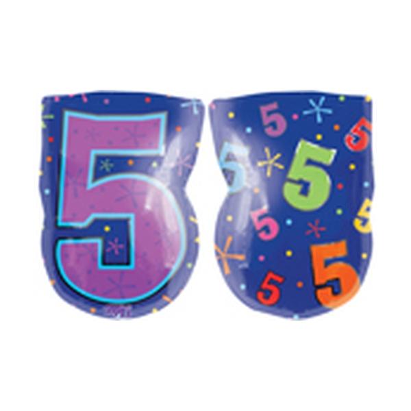 Chiffres 5 ballon mylar junoir 45 cm à plat