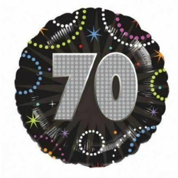 70 anniversaire time to party holographique ballon mylar
