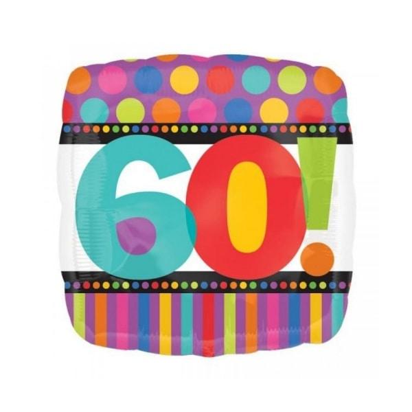 60 anniversaire points et lignes ballons 45cm à plat