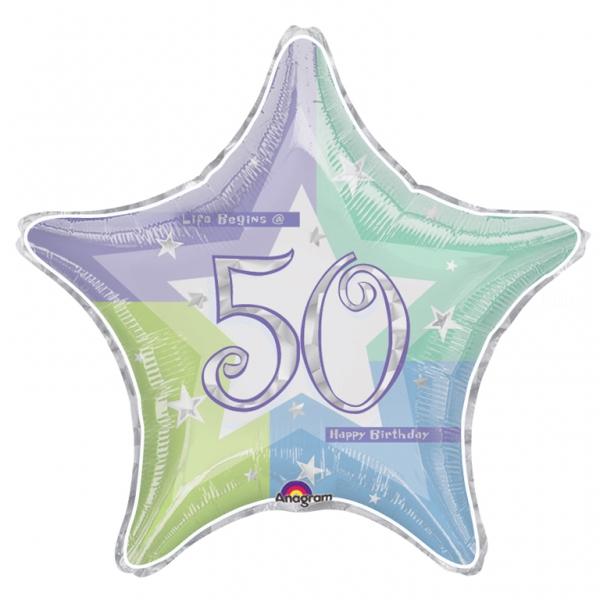 50 anniversaire holographique ballon mylar