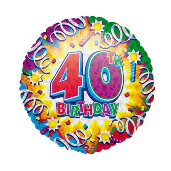 40 Birthday explosion Ballon métal 45 cm