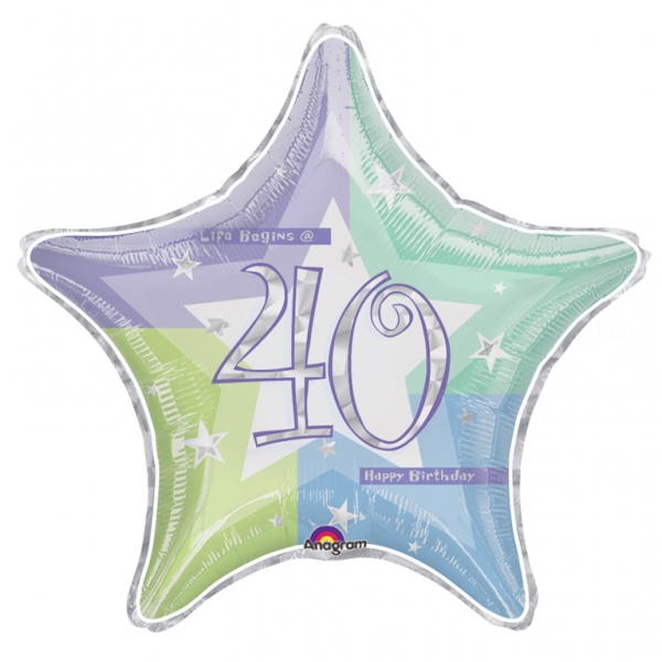 40 anniversaire holographique ballon mylar