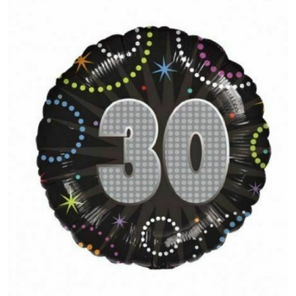 30 anniversaire time to party holographique ballon mylar