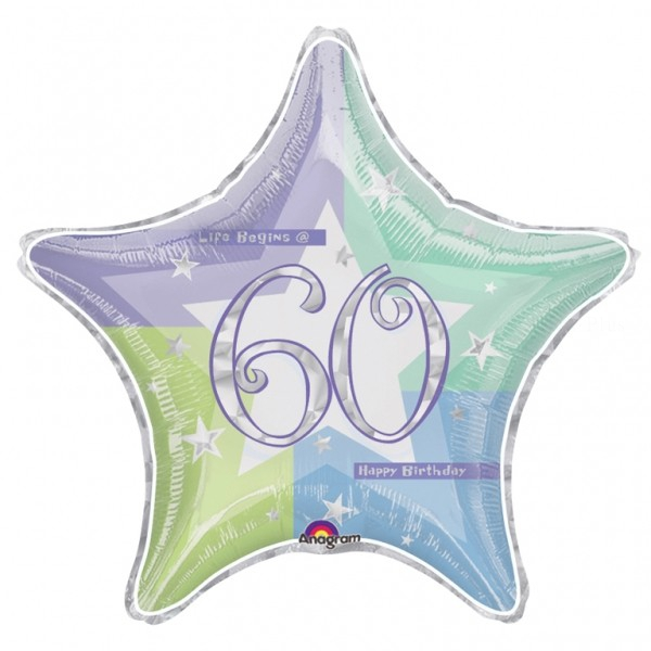 60 anniversaire holographique ballon mylar 50cm