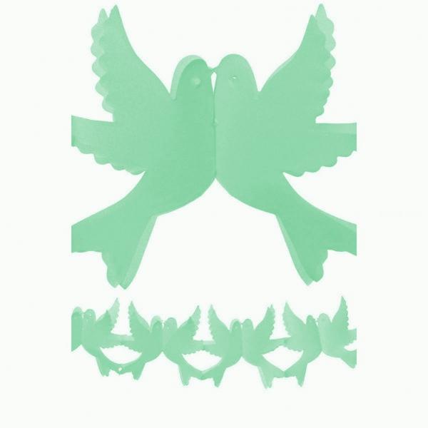 guirlande papier vert d'eau couple de colombes 4 m