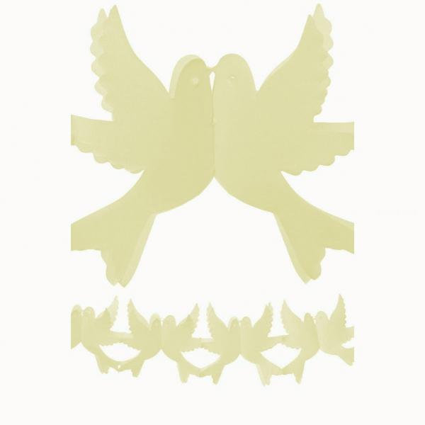 guirlande papier champagne couple de colombes 4m