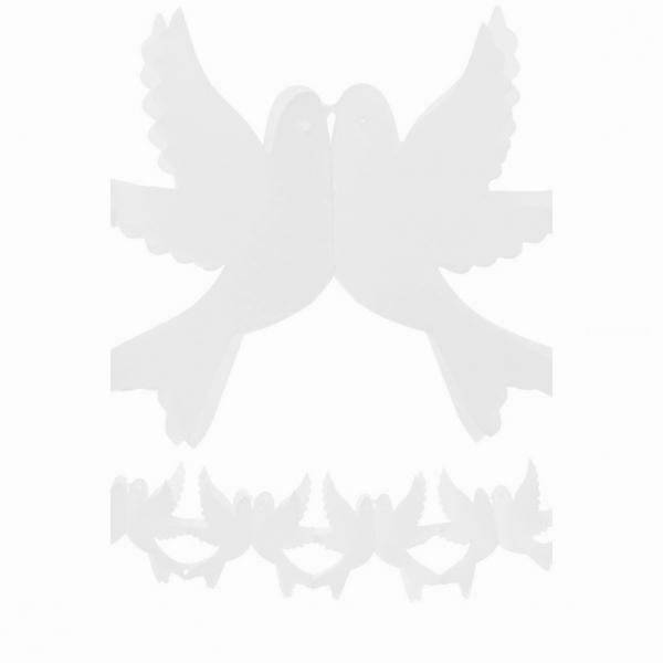 guirlande papier blanche couple de colombes 4m